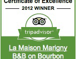 tripadvisior Certificate of Excellence Winner: 2012