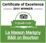 Trip Advisor Certificate of Excellence, 2011 Winner