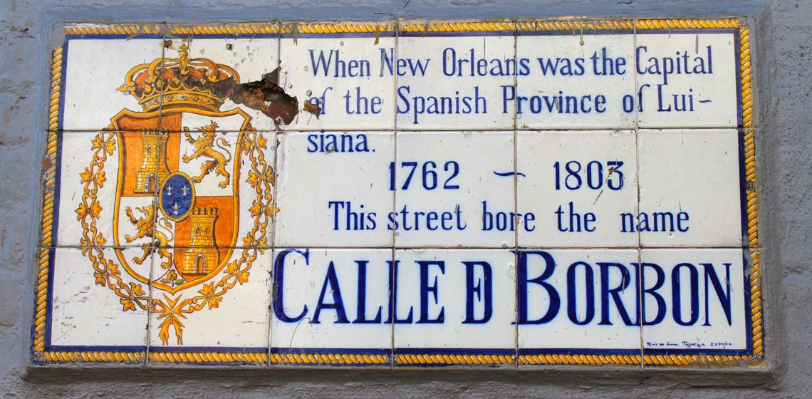 Tile Bourbon Street street sign, a gift of the government of Spain in the 1959.